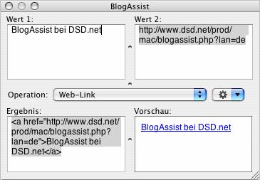 Das schwebende BlogAssist-Fenster