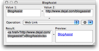 The floating BlogAssist window