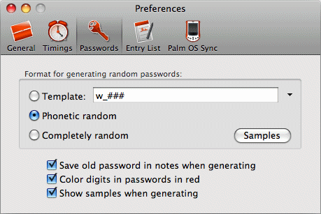 Preferences: Passwords